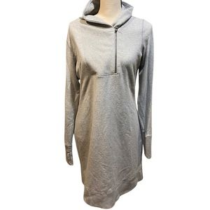 Athleta Gray Hooded Sweatshirt Dress